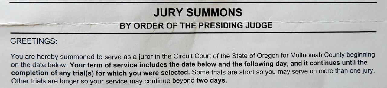 juror summons